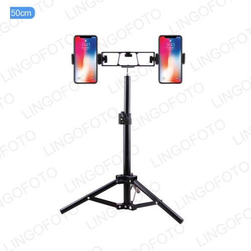 50/160/210cm Mobile Phone Live Streaming Desktop Tripod With Two Phone Holders Clips And Bag UC9835 -UC9837